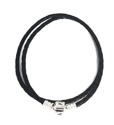 Pandora Women's Double Black Leather Bracelet – 590705CBK-D1