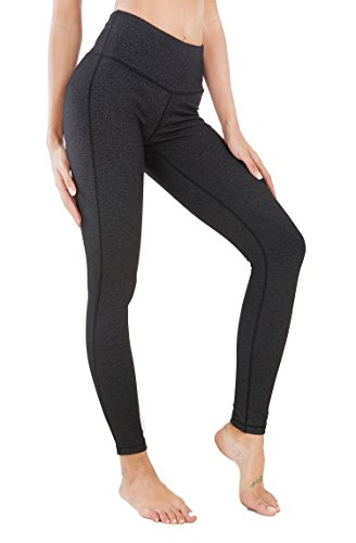 Queenie Ke Women High Waist Drawstring Phone Back Pockets Sport Legging Yoga Pants Running Tights Size S Color Dark Charcoal Space Dye ()