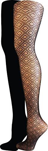 コンベンション難民戻るIsaac Mizrahi New York Women 's Diamond Texturedタイツ( 2 - Pack )