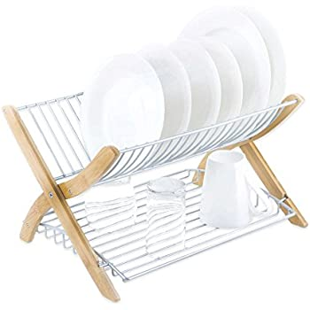 Amazon Com Stack Dish Rack In Bamboo Nickel Hold Up To 16
