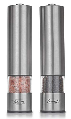 Electric Lerutti Salt and Pepper Grinder Set | Battery Operated Stainless Steel Grinders (Pack of 2) | Automatic Mills with LED Light and Caps at Bottom | Electronic Adjustable Shakers