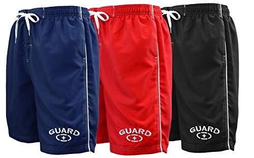 Mens guard Swimwear Board Short Swim Trunk (MG001) - Red - Medium -
