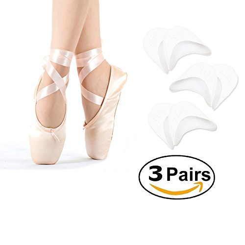 Chanan Toe Sleeve Metatarsal Pads - Silicone Gel Pad Shield Toe Caps Soft Ballet Pointe Dance Athlete Shoe Pads For Men and Women - 3 Pair