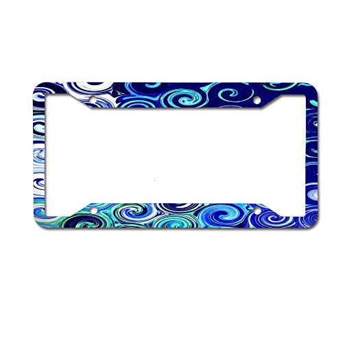 - WATINCFlagHomegg Blue Swirls Accent Novelty License Plate Decorative 4 Holes Front Plate 6