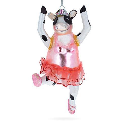 BestPysanky Cow Dancing Ballet Blown Glass Christmas Ornament -
