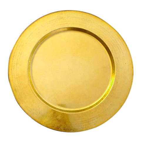 "AsiaCraft Metal Brass Finish 14"" Charger Plate for Wedding, Parties and Holidays (1 PC)"