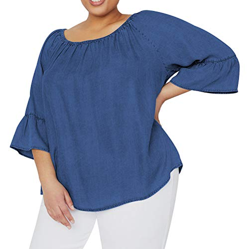 Women's Plus Size Soft Peasant Top Denim 3/4 Flounce Sleeves Blouse Shirt on or Off Shoulders Med Wash 1X