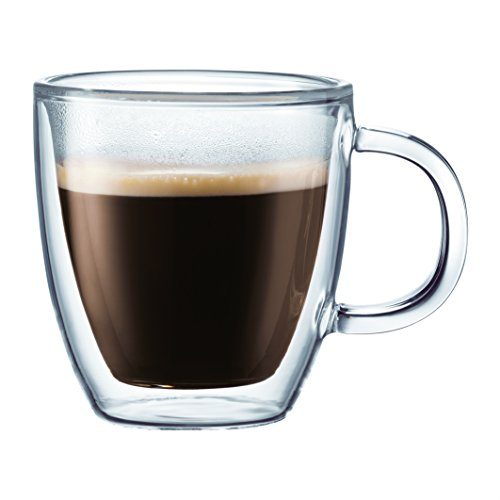 Bodum Bistro Coffee Mugs, Double-Wall Insulated Glass, Clear, 10 Ounces Each (Set of 2)
