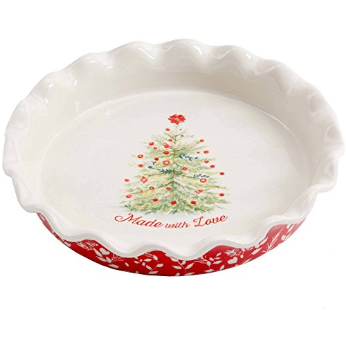 liday Cheer 9-Inch Ceramic Ruffle-Top Pie Plate, Dishwasher/Oven Safe ()