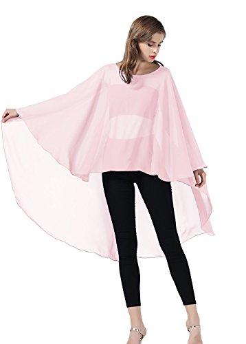 - Chiffon Capelet Sheer Bridal Shawl For Women Materbity Cape Plus Size Poncho Wrap Ballet Pink