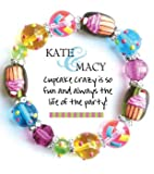 Clementine Design Kate & Macy Cupcake Crazy Bracelet Painted Glass Beads Rhinestones offers