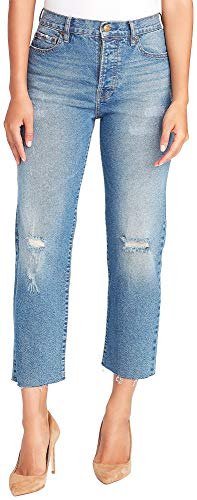 (Vintage America Blues Women's Cheeky Straight Leg Denim Jeans, Salt Pepper Destruction 16)