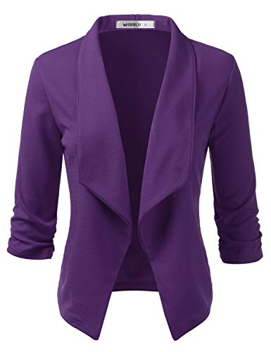 Doublju Womens Casual Work 3/4 Sleeve Open Front Blazer Jacket with Plus Size Plum X-Large