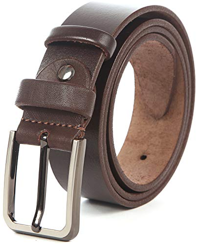 (Men Leather Belt Solid Full Grain Leather Allergy Free Buckle 1.5 inch 10 oz Strap (M-112cm>33-37