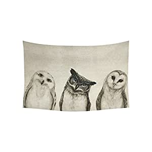 D-Story Custom Wall Tapestry Cute Owl Cotton Linen Tapestry Wall Hanging 60'' x 40'' Wall Art Home Decor