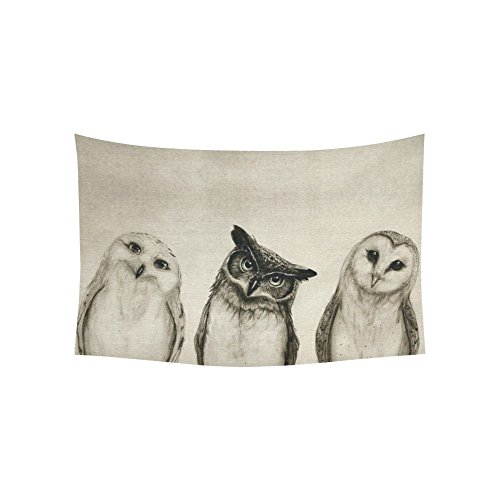 D-Story Custom Wall Tapestry Cute Owl Cotton Linen Tapestry Wall Hanging 60'' x 40'' Wall Art Home Decor]()