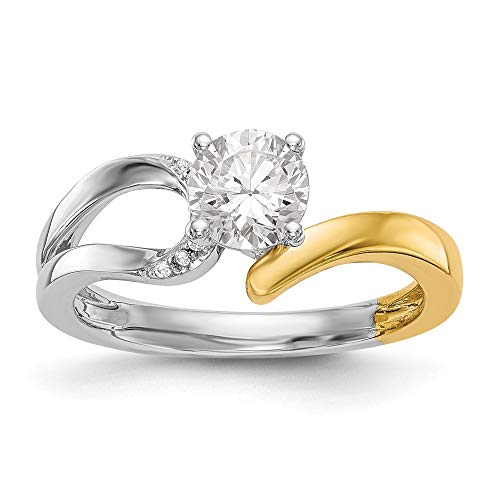 - 14k Two-tone Peg Set Diamond Semi-mount By-Pass Engagement Ring Size 7 Length Width
