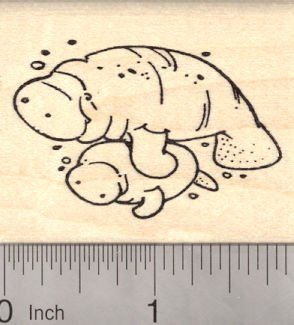 Manatee Mom with Baby Rubber Stamp