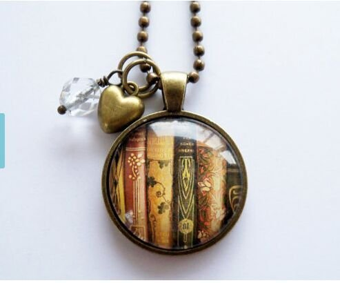 Book Necklace Librarian Bibliophile Literary