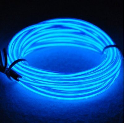 El Wire Kit Blue 9ft Electroluminescent Wire + Battery Pack Glowing Strobing Neon Lights for Halloween Costumes Christmas Party Decorations (Blue)]()