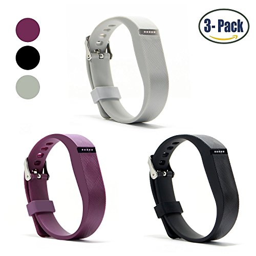 Hotodeal Replacement Bands for Fitbit Flex, Fashion Adjustable Silicone Sport Wristband with Chrome Clasp and Fastener Buckle, Prevent Tracker Falling Off, Comfortable, Pack of 3 (Cheap Silicone Wristbands)