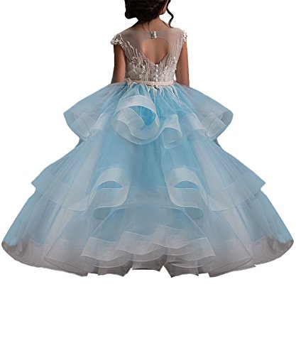 WDE Long Blue Little Girls Pageant Dresses for Wedding Kids First Communion Prom Ball Gown Size 10 - Pageant Gown Prom Wedding