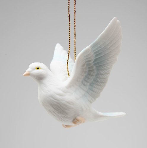 Cosmos Gifts Fine Porcelain White Peace Love Dove Hanging Figurine Ornament, 3-1/8