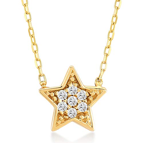 GELIN 14k Yellow Gold 0,02 ct Diamond Star Pendant Chain Necklace for Women, 18
