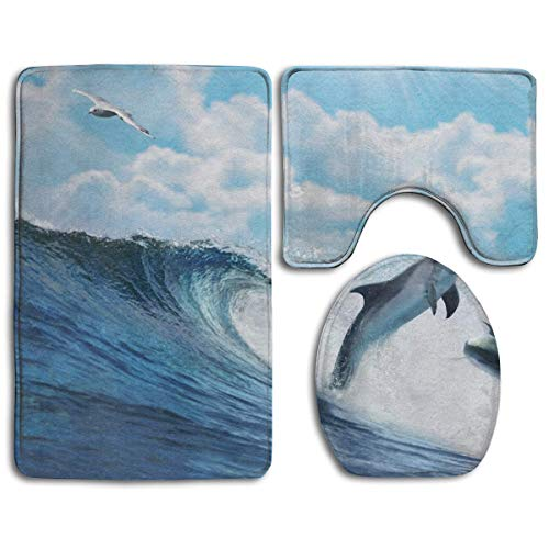 Kcoremia Oceans-Cloud-Tapet-Blue-Dolphin-sea-Wave-Seagull-Ocean-Dolphins-Summer-Sky-Wallpapers Bathroom Rug Mats Set 3 Piece Anti-Skid Pads Bath Mat + Contour + Toilet Lid Cover