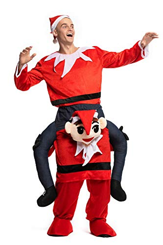 Christmas Piggyback Costumes Funny Carry Ride On Me Shoulder Red Elf Costumes Fancy Dress, -