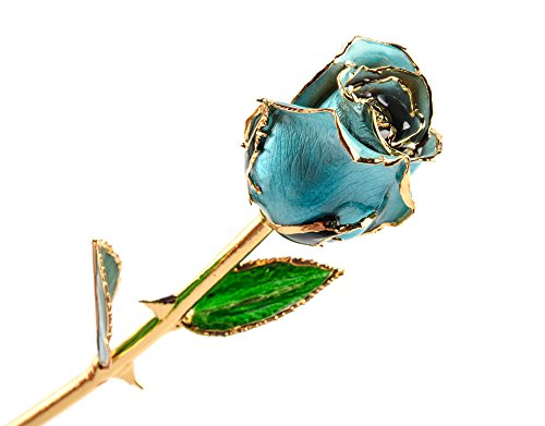 M Dream Long Stem Trimmed 24K Gold Dipped Real Rose Blue 11 Inches Set of 1,Best Gift for Valentine's Day, Mother's Day, Anniversary, Birthday