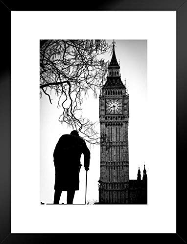 Big Ben and Sir Winston Churchill Statue Westminster London Black and White Photo Matted Framed Wall Art Print 20x26 ()