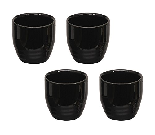 Happy Sales HSSCP-BLK4, Set of 4 Black Porcelain Sake cups 1.5 ()