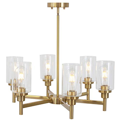 6 Light VINLUZ Interior Chandelier Brushed Brass Classic Industrial Hanging Pendant Lighting Finish with Clear Glass Shades Fixtures for Living Room Dining Room Kitchen