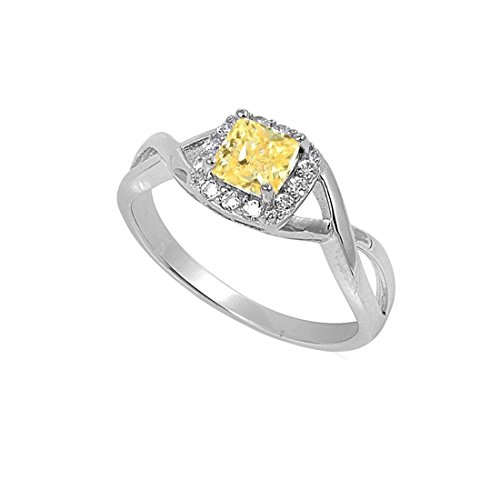 (Blue Apple Co. Solitaire Infinity Shank Ring Simulated Yellow Cubic Zirconia Princess Cut 925 Sterling Silver,Size-5)