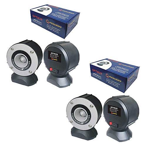 "Q Power QPTW28 Car Audio 400W 3.75"" Aluminum Bullet Horn w/ 1"" Super Tweeter (2 Pack)"