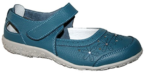 LADIES SHEILA CUSHION WALK LEATHER UPPER SANDAL BOAT DECK SHOES Teal
