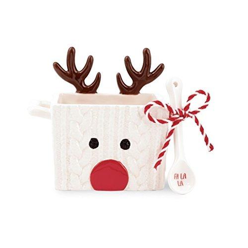 Mud Pie 4855062R Reindeer Candy Dish Set, White - Mud Pie Santa