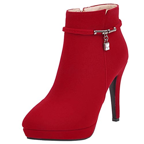 Heels Boots Aiyoumei Rot Strass Plateau Herbst Und High Winter Stiefeletten Ankle Mit Stiletto Reißverschluss Damen