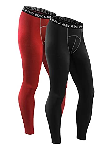 Neleus Men's Compression Running Leggings Tights,6026,Red,Black,M,EUR L