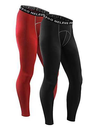Neleus Men's 2 Pack Compression Tights Sport Running Leggings Pants,6026,Red,Black,L,EUR XL