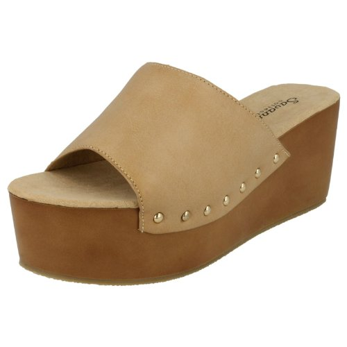 Damen Pantolette Sandale L6740 Keilabsatz Nude