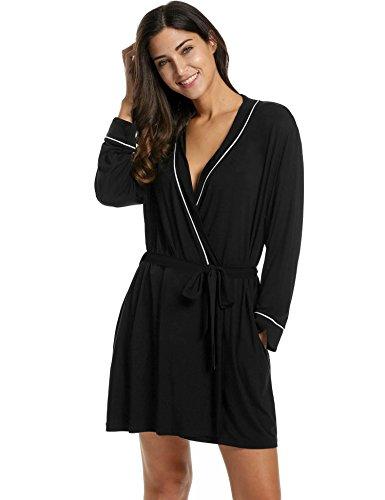 Goldenfox Women's Bathrobes Short Kimono Robe Viscose Spa Bath Robes Sleepwear (Black, X-Large) (Kimono Jersey)