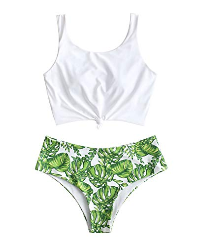 - ZAFUL Tropical Leaf Palm Knotted Mix and Match Tankini Set XL