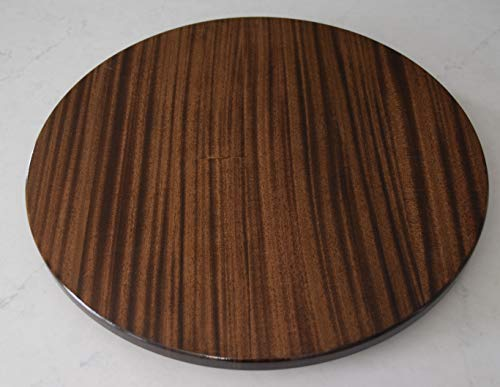 - 24 inch wood Mahogany Lazy Susan with a Dark Walnut stain