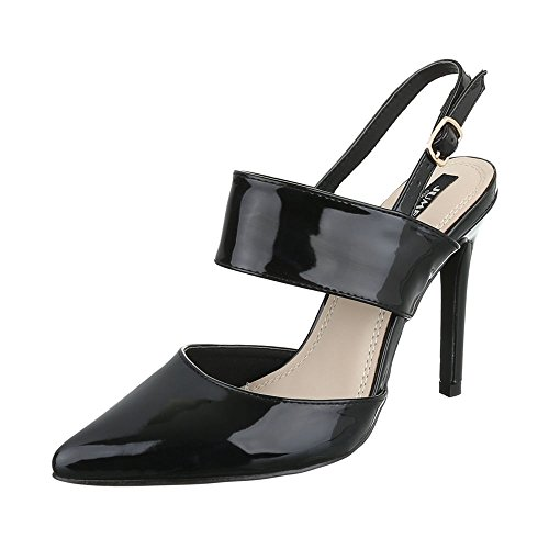Ital-Design High Heel Damenschuhe Plateau Pfennig-/Stilettoabsatz High Heels Schnalle Pumps Schwarz