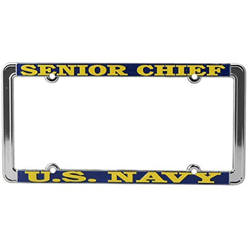 Honor Country US Navy Senior Chief License Plate Frame, Thin Rim