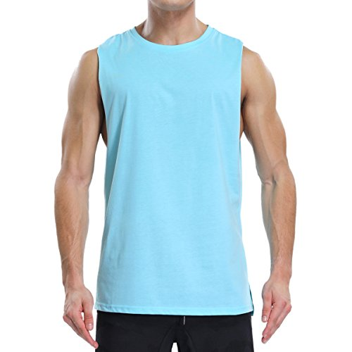 Ouging Cut Off Mens Tank Top Muscle Sleeveless T Shirt for Gym Bodybuilding Workout Athletic Training Activity Sports(M, Blue) ()
