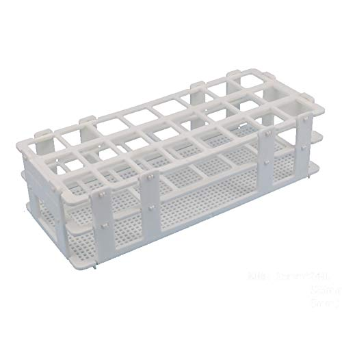 (BIPEE Plastic Test Tube Rack for 25mm Tubes, 24 Well, White,Detachable (24 Hole))