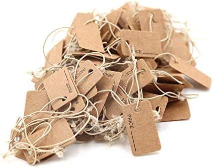 Chiloskit 100 tarjetas de etiquetas de papel kraft con cuerda el/ástica para manualidades de 0,9